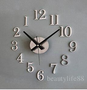 عكس وضع المحرك الأرقام aggreko 3d diy مضحك ساعة الحائط التصميم الحديث الديكور ساعات الحائط تزيين المنزل (فضية)
