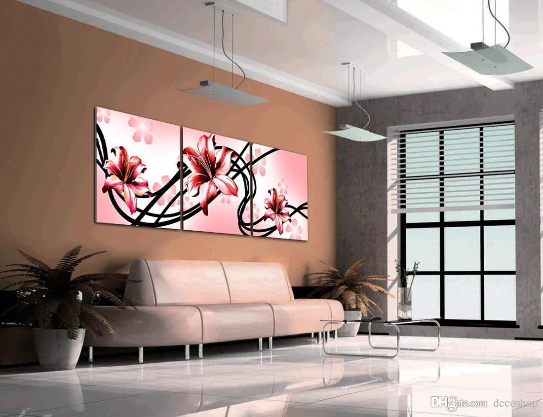 Modernas Belas Flores Finas Pintura Floral Giclee Impressão Na Lona Home Decor Wall Art Set30224