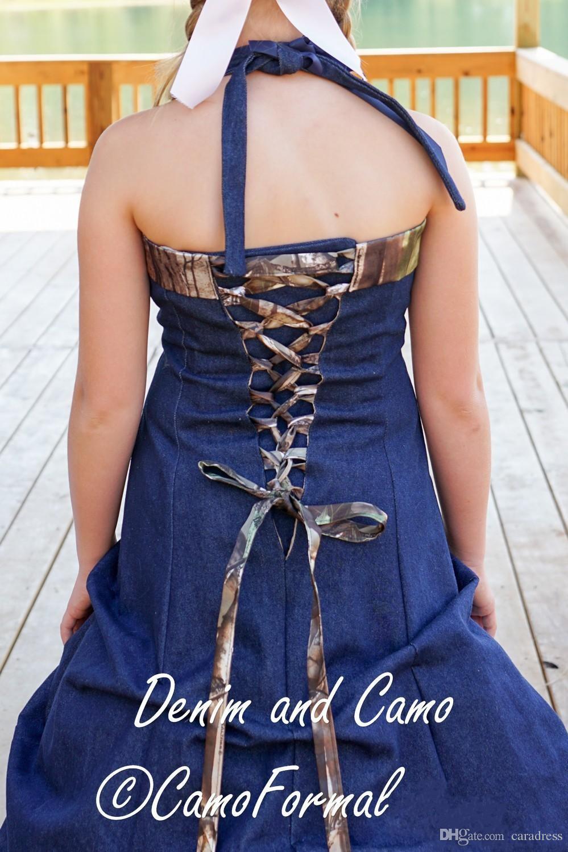 2016 New Arrival Cowboy Camo Wedding Dresses Blue Denim A Line ...