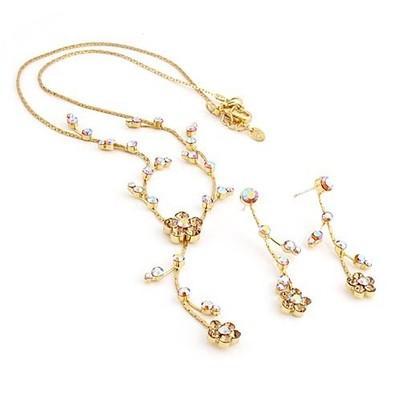 champange diamond flower set orecchini da sposa da sposa (spwhy) oiop