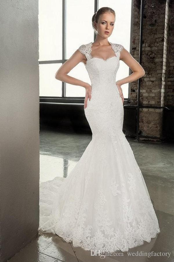 2016 Stunning Mermaid Wedding Dresses Lace Appliques Sweetheart Neck Cap Sleeves Open Back Corset Bridal Gowns