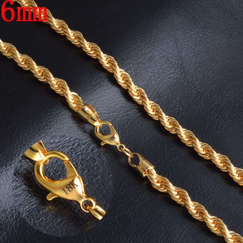 2020 Extremely Jewelry For Man 6mm 20inches 18k Gold Plated Twisted Rope Chain Necklace Charms Jewellery Boyfriends Father Gift From Jwlry31 3 89 Dhgate Com