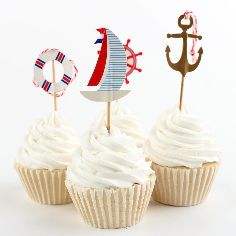 Cake Toppers Papierowe Ocean Styl Karty Baner Dla Owoców Cupcake Wrapper Puchar Pieczenia Urodziny Herbata Party Wedding Decoration Baby Shower