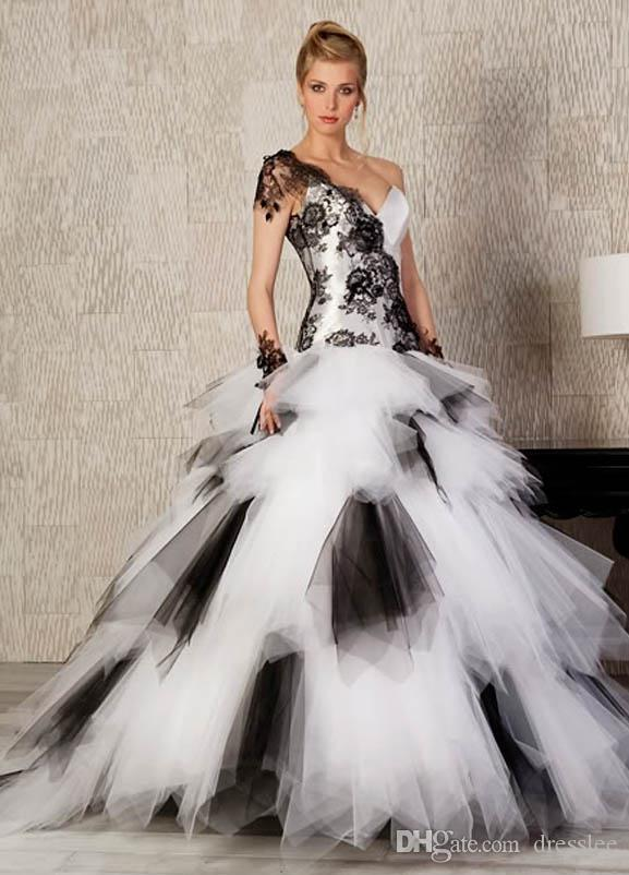 Vintage White Black Ball Gown Wedding Dresses Bridal Gowns Lace One ...