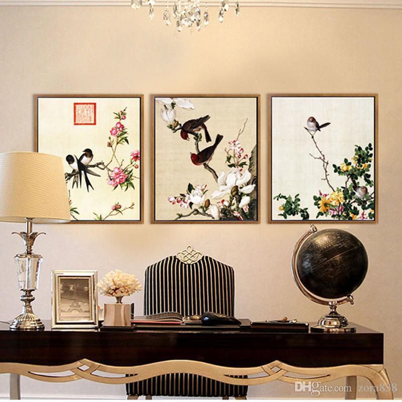 ... Moderne Chinesische Kunst Malerei Blumen Vögel Kalligraphie Und Malerei  Wohnzimmer Dekoration Restaurant Schlafzimmer Malerei Kein Rahmen ...