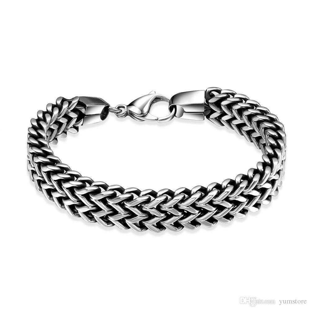 Moda de acero inoxidable 316L pulseras de los hombres con corchete de la langosta pulsera de eslabones de cadena de alta pulido brazalete pulsera para hombres Bithday regalos
