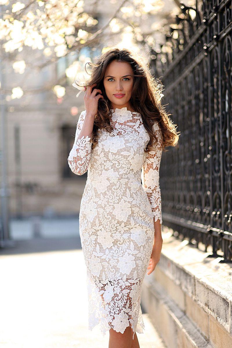 Fashion Women Slim Lace Dress 3/4 Sleeve Lace Wedding Dress Wedding ...