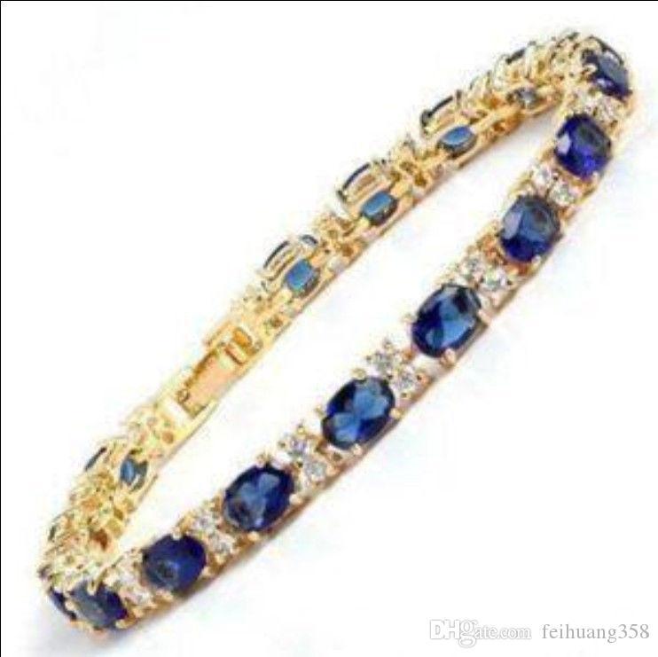 Прекрасный синий камень сапфир 18K золото на серебряный браслет