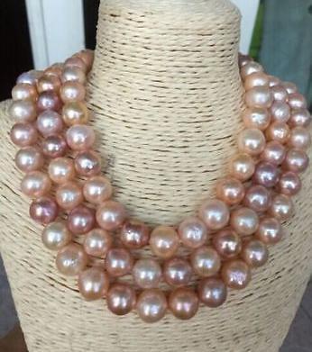 Wunderschöne 9-10 mm Südseegold-Rosa-Perlenkette, 48 Zoll, 14 Karat Gold