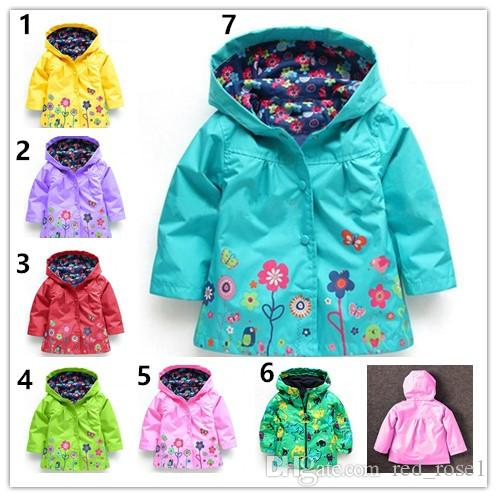 Baby Kids Girls flower Raincoat 7 Color Free Kids Fashion Baby Girls Clothes Winter Coat Flower Raincoat Jacket For Windproof Outwear