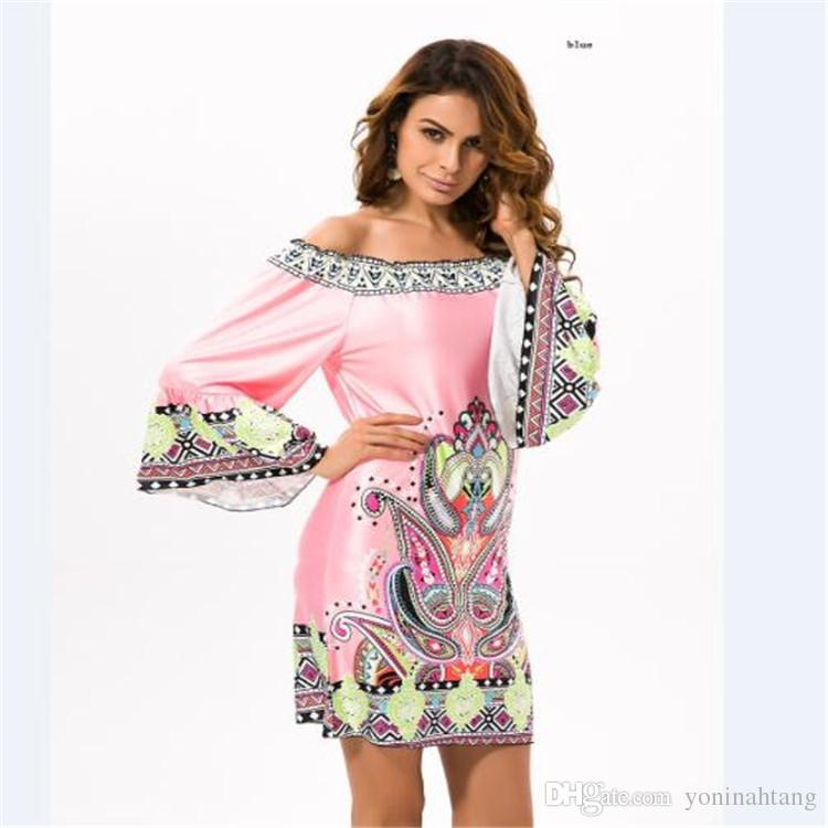 Wholesale free shipping Woman colorful Printing off shoulder flare sleeve beach Tunics Runway Dress For Girls