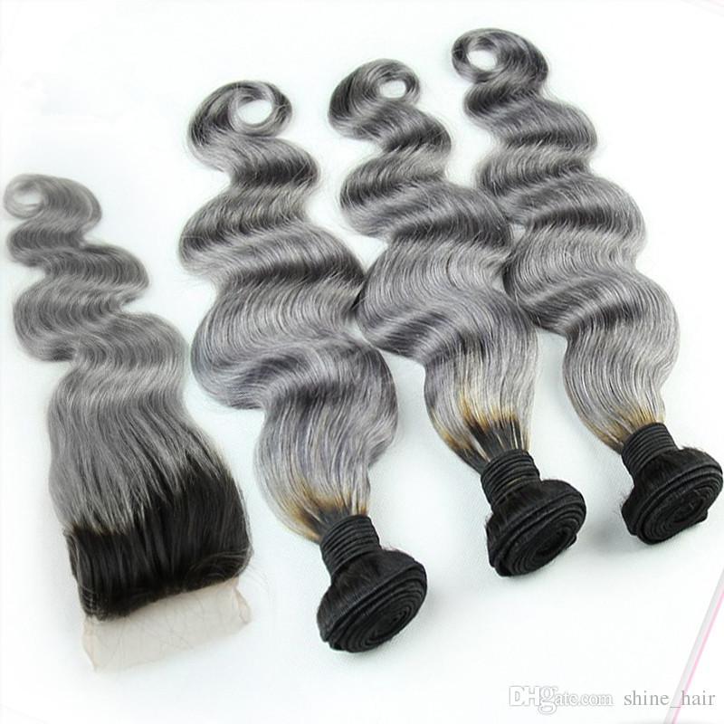 1B / Grau Brasilianische Ombre Menschenhaar Bundles Mit Silber Grauer Spitze Verschluss Zwei Ton Farbige Haarwebart Mit Verschluss Körper Wellenförmige 4 Teile / los