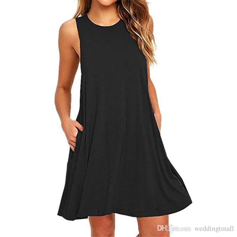 Tank Back Summer Dress 2018 O Neck