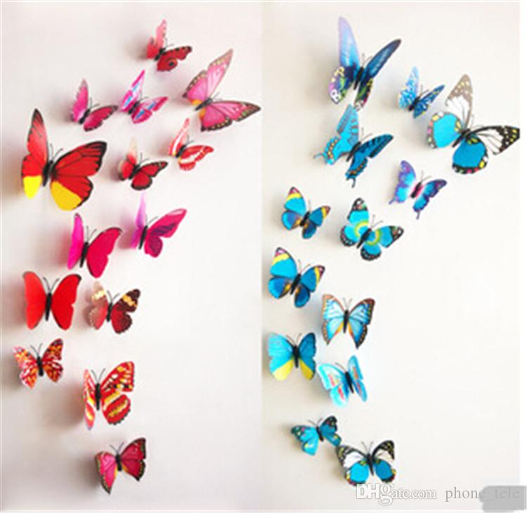 2016 12pcs/set wall stickers 3D Butterfly Wall sticker Removable Home Decors Art DIY Plastic Decorations Wall Paster Stickers