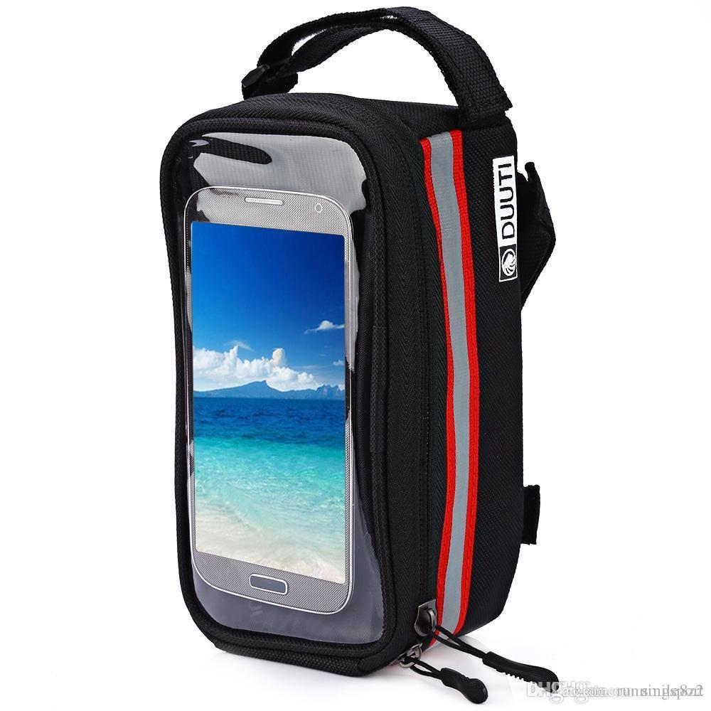 DUUTI Outdoor Cycling Mountain Road Bike Bag Bicycle Frame Tube Panniers Waterproof Touchscreen Phone Case Reflective Bag Basket +B