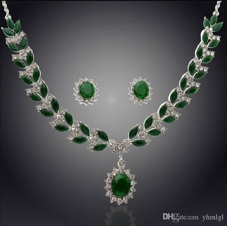 красный / зеленый кристалл ожерелье Eaarrings аксессуар для свадьбы партии подарок женщины
