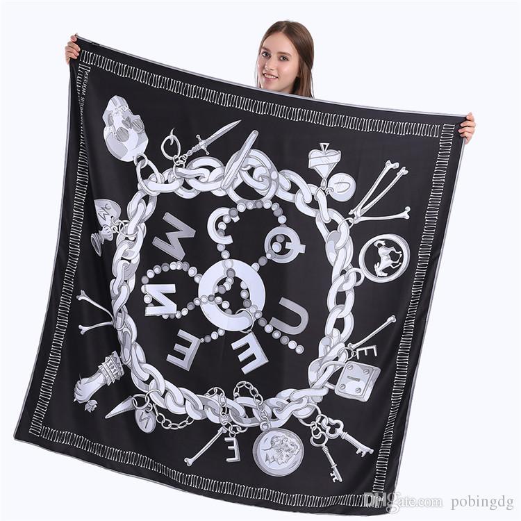 New sarja Silk Scarf Mulheres Crânio Impressão Key Praça de lenços de moda Enrole Feminino Foulard Grande Hijab Xaile Lenço 130 * 130cm