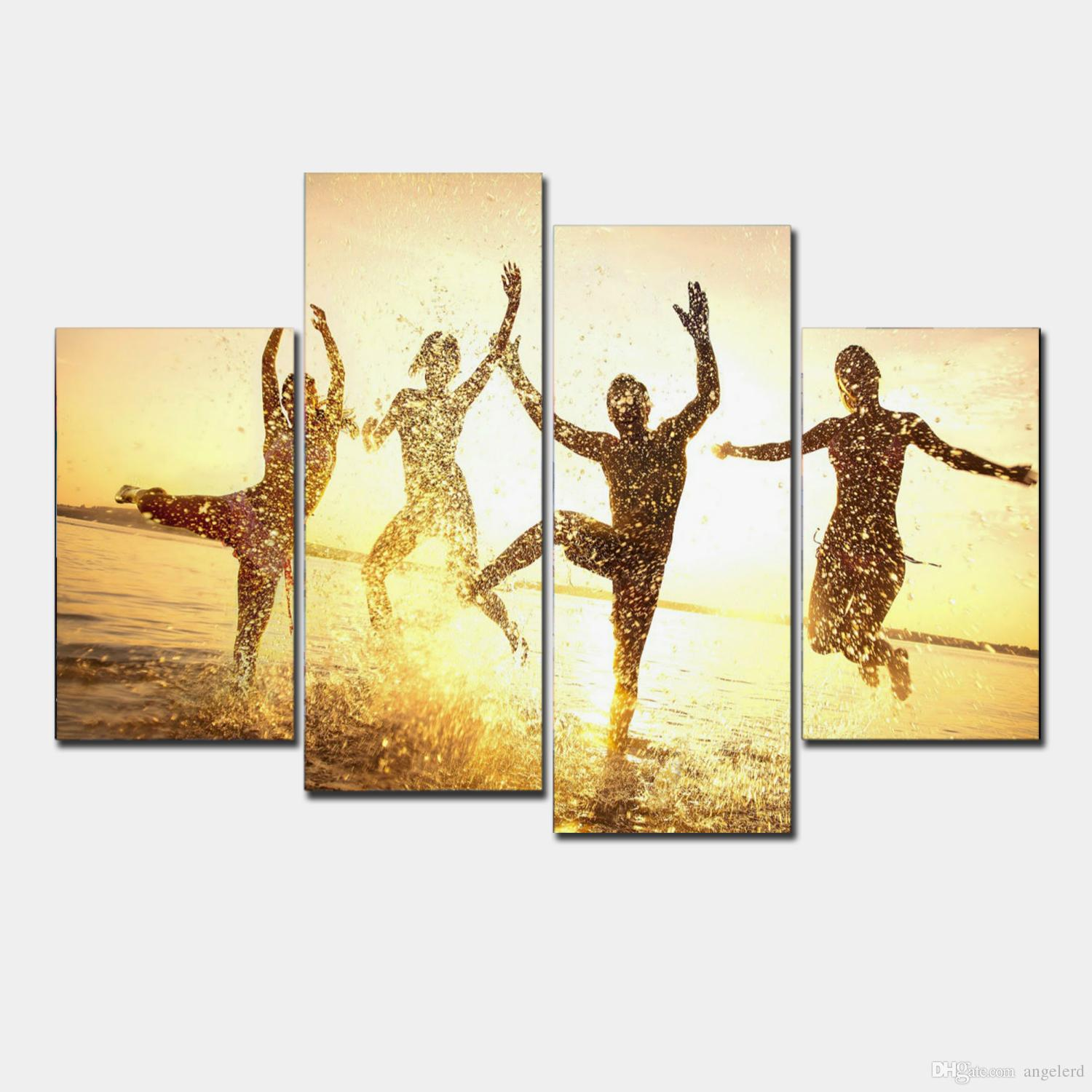 2018 4 Panel Modern Printed Shadow Painting Picture Cuadros Sunset ...