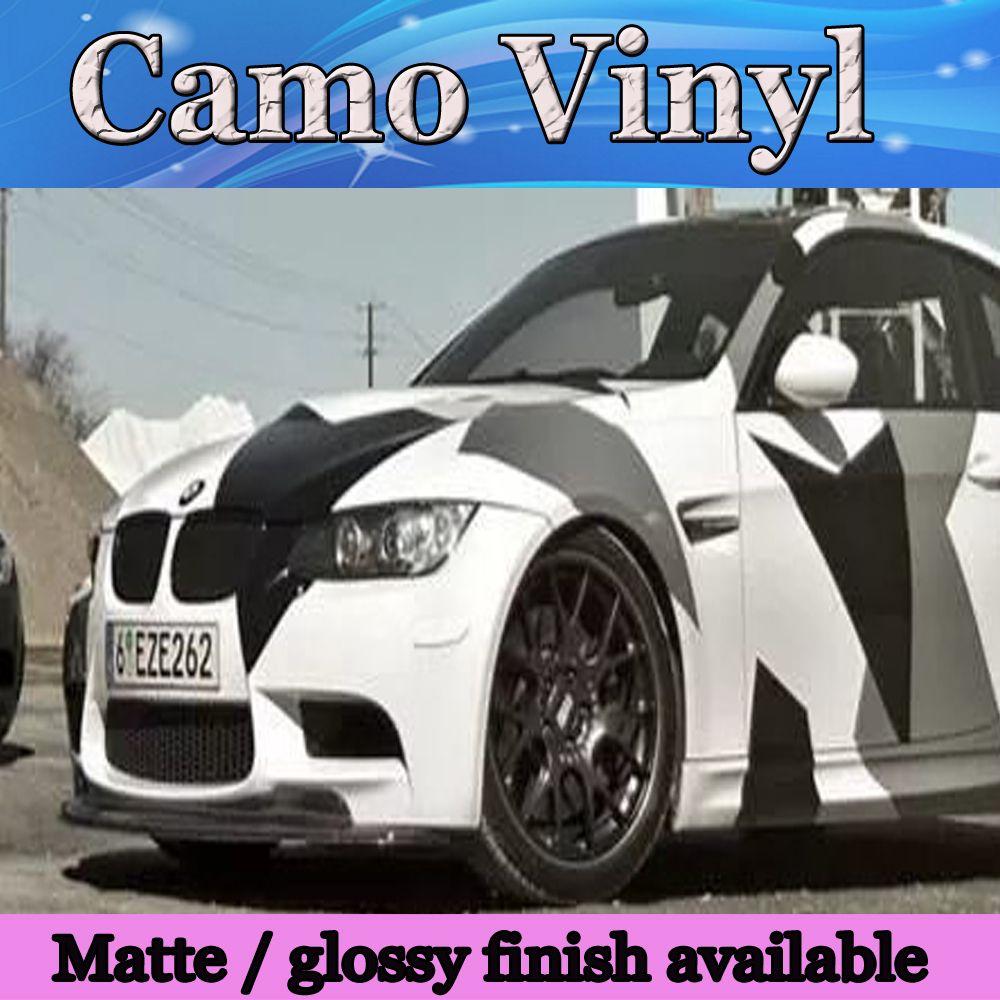 Pixel Large Camo Vinyl Full Car Wrap Styling con Air Rlease Gloss / Matt negro blanco Ártico camuflaje que cubre calcomanías 1.52x30m / Roll