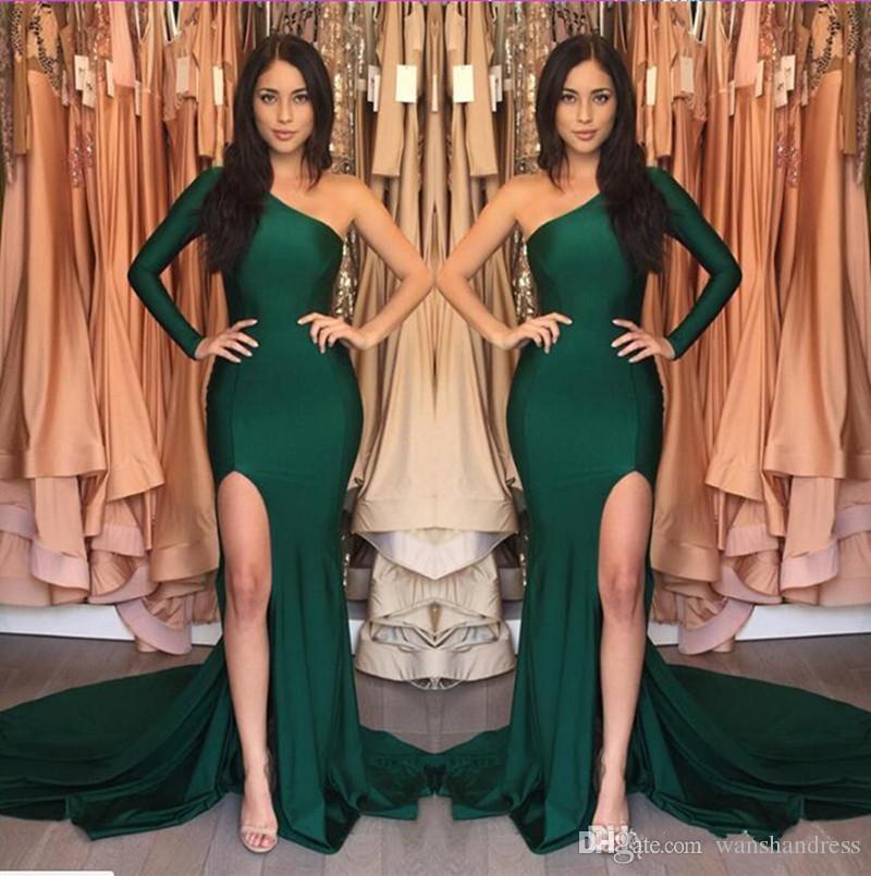 2018 Hunter Green Mermaid vestidos de noche un hombro de manga larga lateral dividir vestido de fiesta Vestidos simples del desfile de la muchacha vestidos de fiesta de graduación