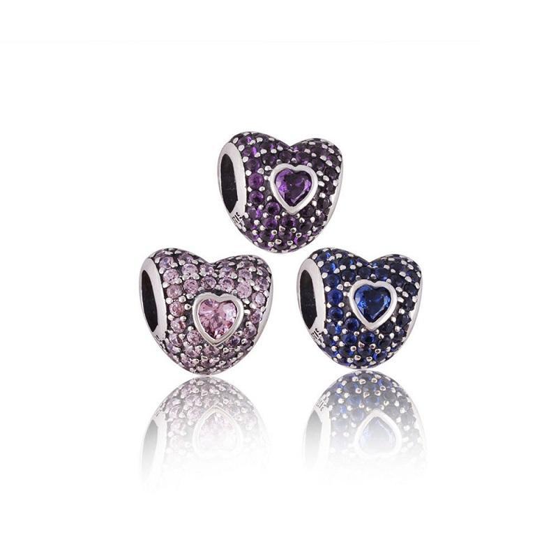 925 Sterling Silver Charm Cristal Ajouré Coeur grand trou Européen Flottant Charmes Perle Fit Pandora Serpent Chaîne Bracelet DIY Bijoux 3 couleur