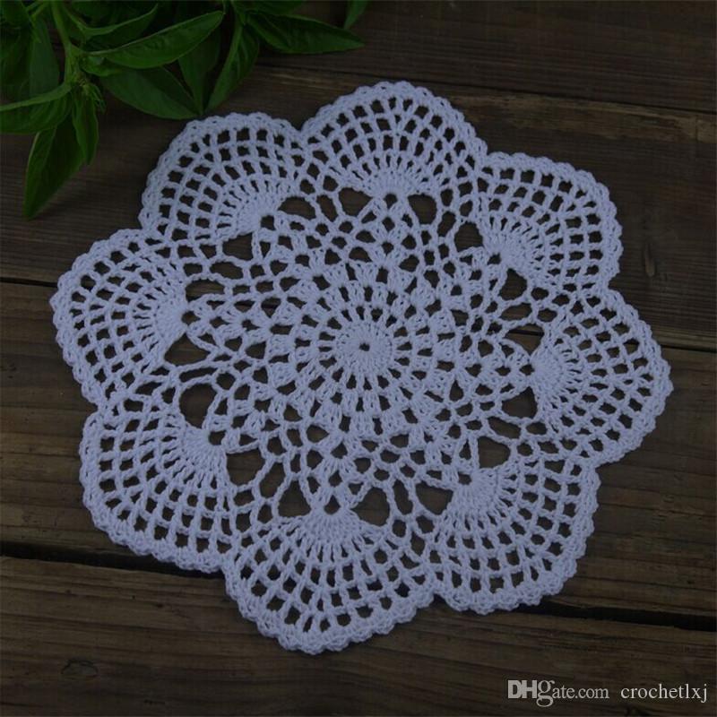 Diameter Polyester Crochet Lace White Vintage Style 8 Crochet Doily 20Cm