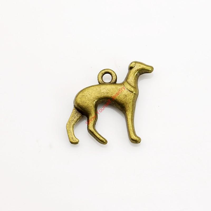 20st antiken Bronze überzogene Hund Charm Anhänger für Armband Halskette Schmuck machen DIY handgemachte Handwerk 19x19mm