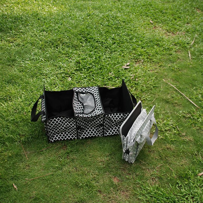 Quattrefoil Multipurpost Storage Fourre-tout en gros blancs Polyester Voyage Trunk Organiseur Sac de rangement pliable en 2 couleurs DOM106309