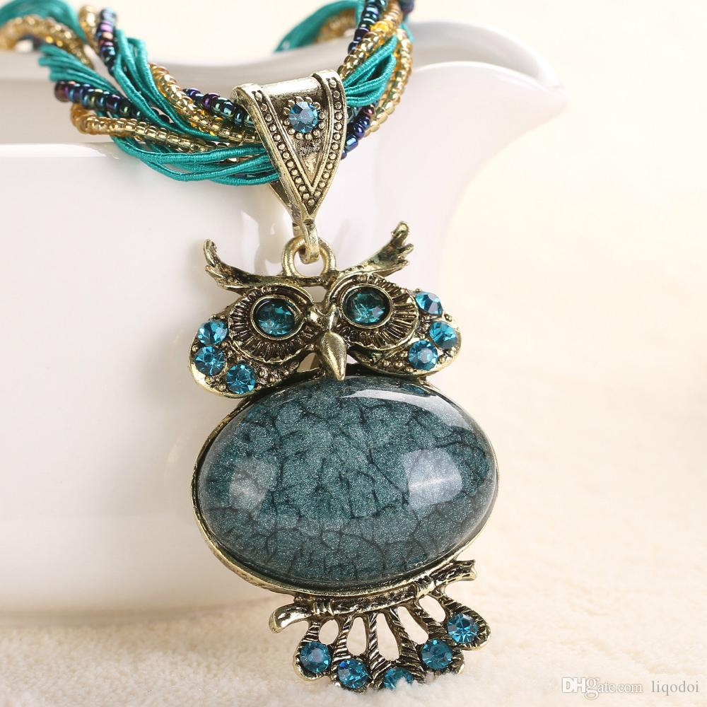 New Chain Statement Choker Fashion Animal Crystal Necklace Pendant Vintage Bohemian Necklaces Statement for Women 16 Color