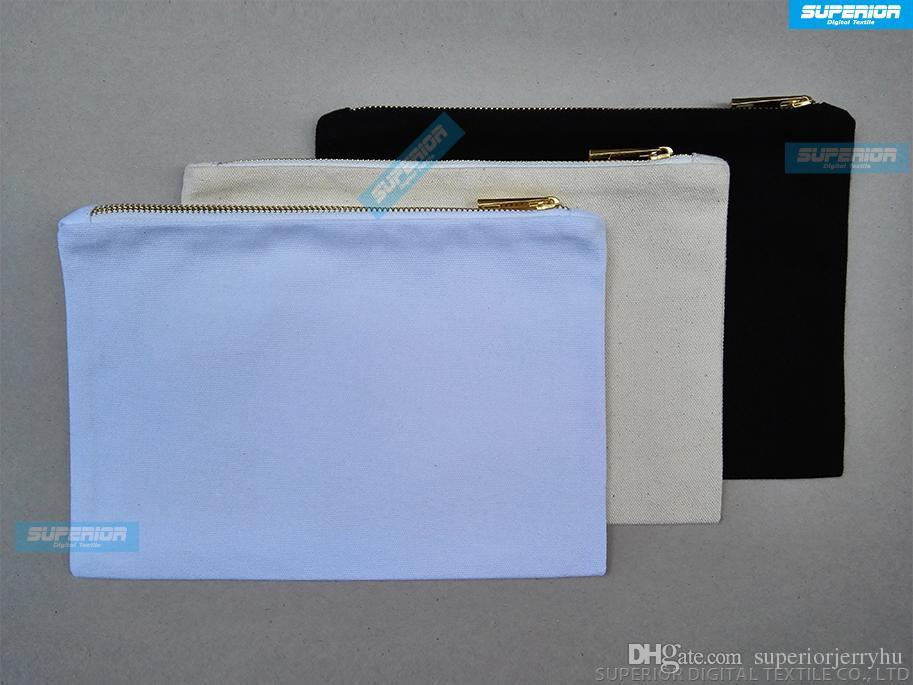 10pcs / lot 12 oz sac de maquillage en toile de coton naturel avec fermeture à glissière en or blanc vierge sac de maquillage en coton avec doublure assortie résistant à la chaleur