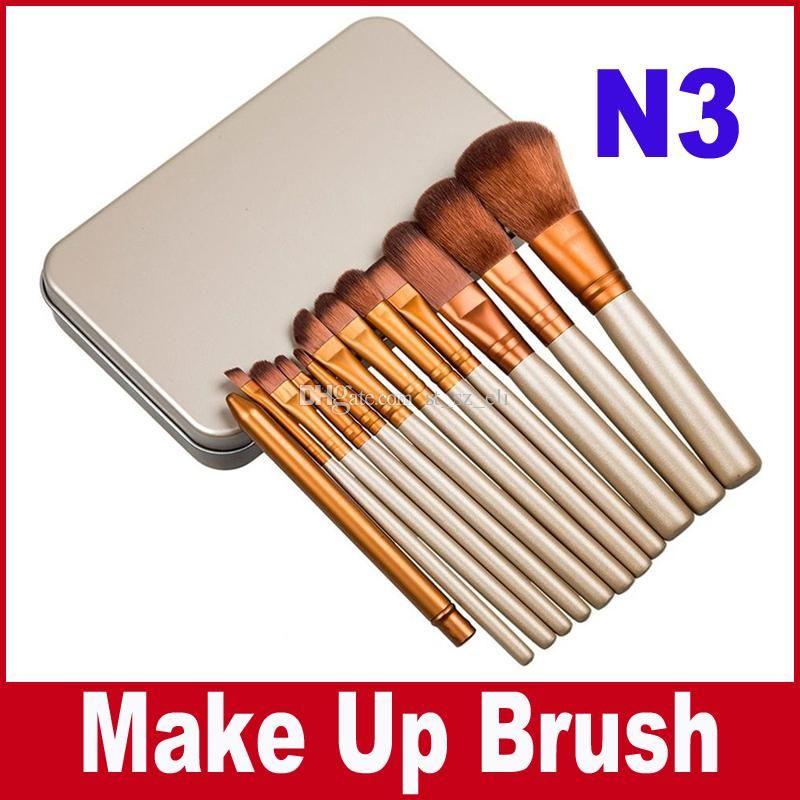 N3 Professional 12 PCS Cosmetic Facial Make up Brush Tools Makeup Brushes Set Kit With Retail Box cheap price