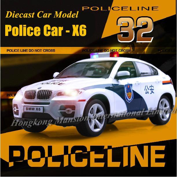 1:32 سبيكة دييكاست المعادن نموذج سيارة شرطة ل TheBMW X6 مجموعة نموذج التراجع لعب سيارة مع SoundLight - وايت
