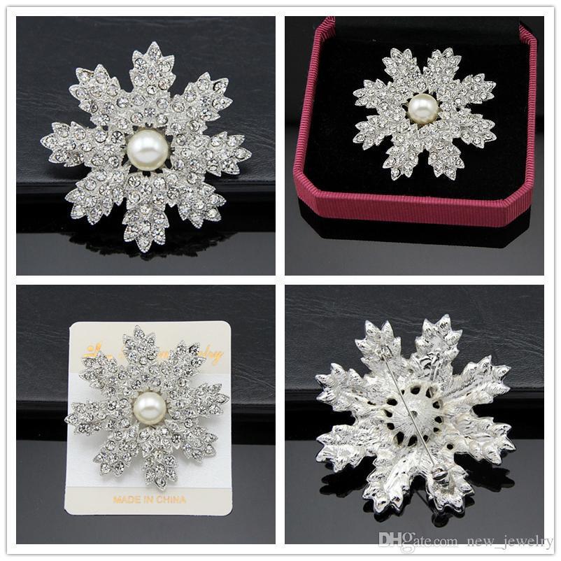 Alloy Pearl Broche 925 Verzilverd Real Oostenrijk Crystal Broche Diamond Flowers Broches Pins for Women Jurken Sieraden Accessoires