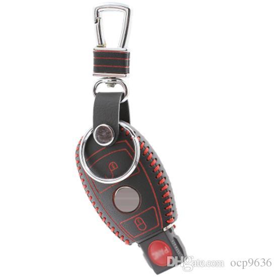 2 أزرار لمرسيدس بنز سيارة حقيقية الجلود حقيبة / حالة المحفظة حامل مفتاح بعيد غطاء شحن مجاني