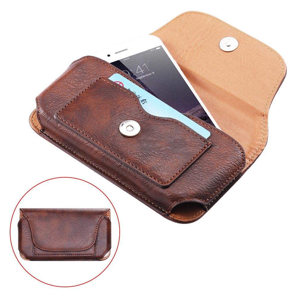 Leather Mobile Phone Holster with Belt Clip Rhino Pattern Cross Card Wallet Pouch Case Universal Flip Holder for Cell Phone