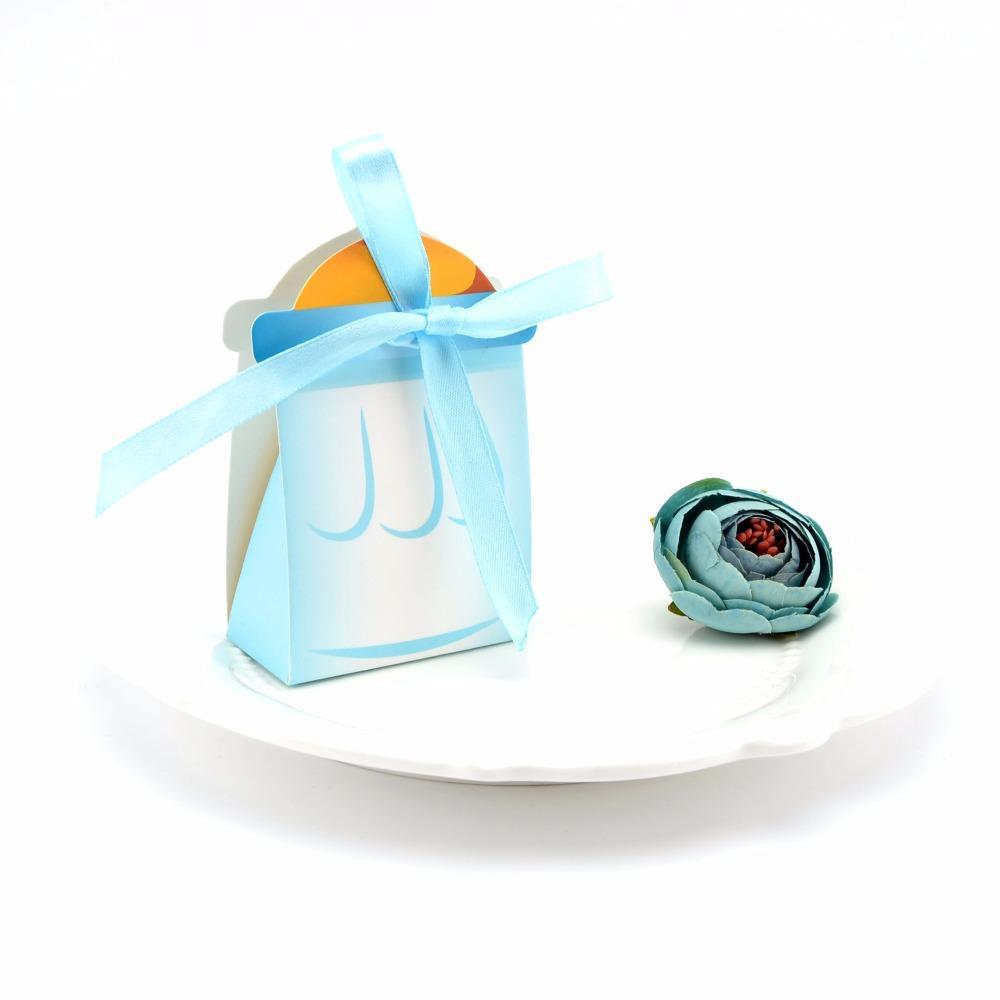 20 قطع استحمام الطفل هدية مربع الطفل زجاجة التمريض زجاجة الوردي الأزرق الجنس تكشف عيد ميلاد هدية مربع الحلوى حقيبة مع الشريط الحرير
