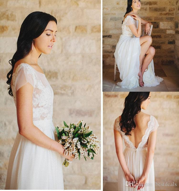 2017 Good Quality A Line Chiffon Beach Wedding Dresses Sheer Scoop Neck Lace Bodice V Back Wedding Dresses Bridal Gown Cheap