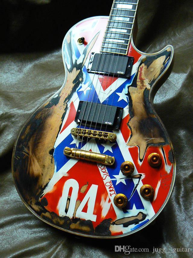 Custom Shop Zakk Wylde REBEL FLAG lourd Relic guitare électrique noire vitesse Boutons d'or Matériel EMG Pickups