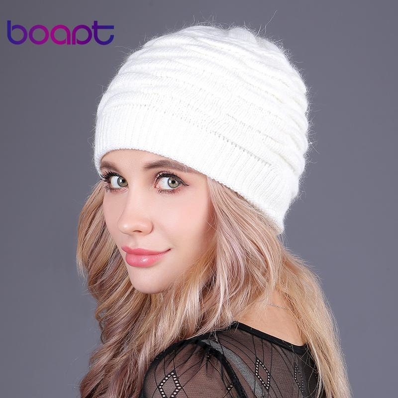 [boapt] мягкий кролик двойной вязание толстый капот шапочки шапочки шапочки твердые теплые зимние шапки для женщин cap skullies шапочки женская шляпа