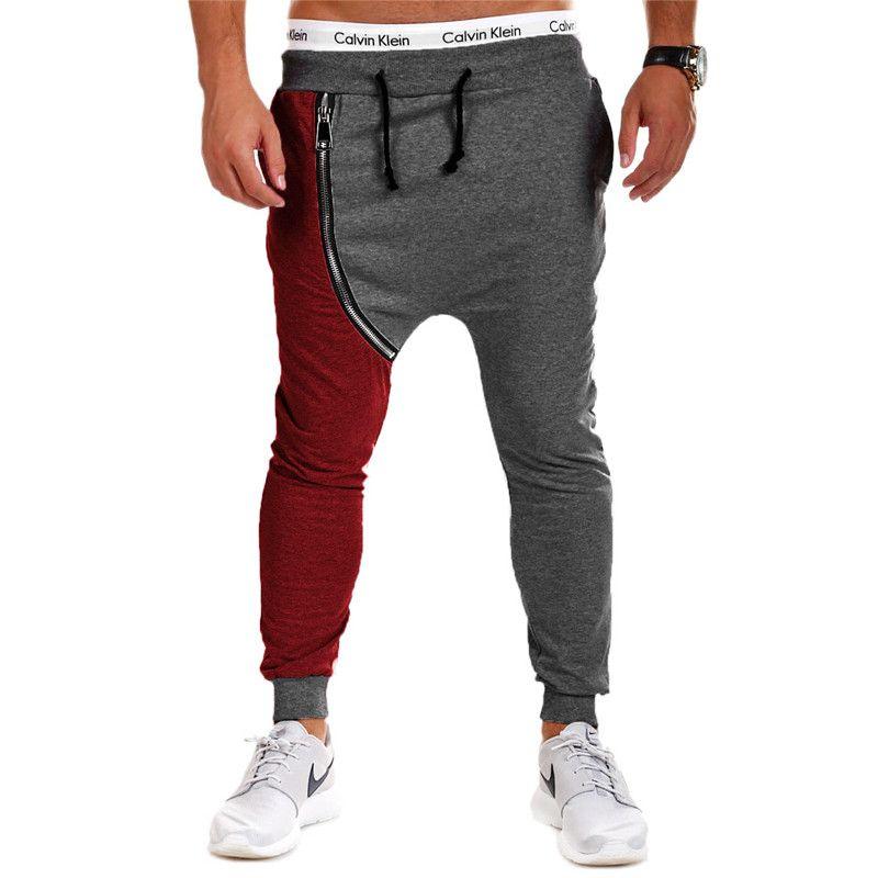 Wholesale-2016 Новая мода хип-хоп Харен Брюки Лоскутной Zipper Дизайн Мужчина Joggers Спорт Бег Брюки Открытой Кожа да кости брюки 19