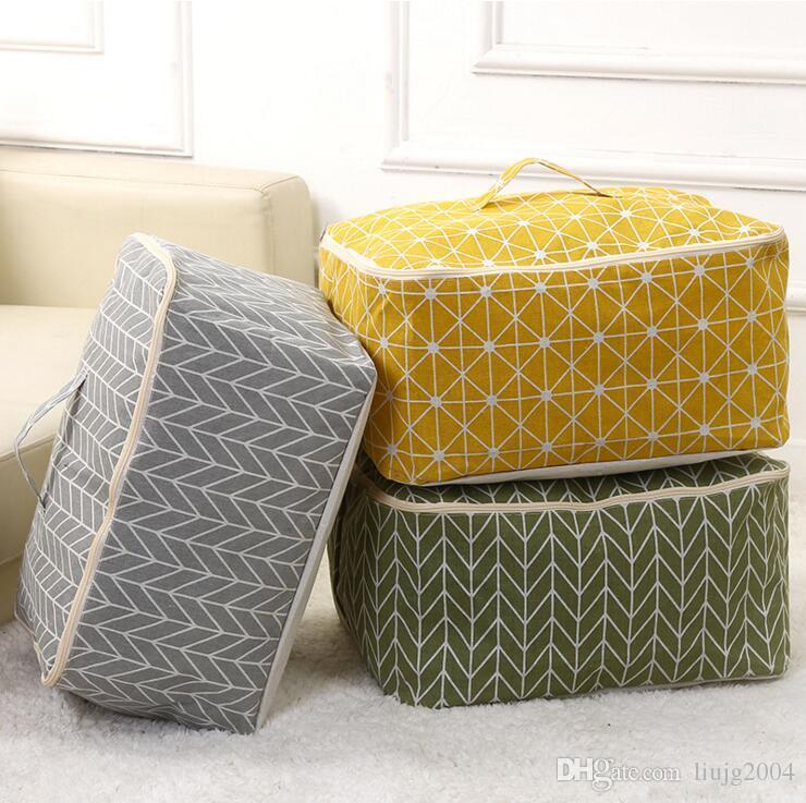 Sacs de rangement en toile de lin en coton Enduit antipoussière Économiser des vêtements Vêtements Couverture de couette oreillers Couverture Boîte de rangement pour garde-robe