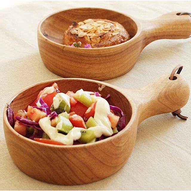 Hohe Qualität Holzschale Umwelt Kreative Log Geschirr mit Griff Kürbis Salat Nudel Schüssel Holz Gericht Suppe