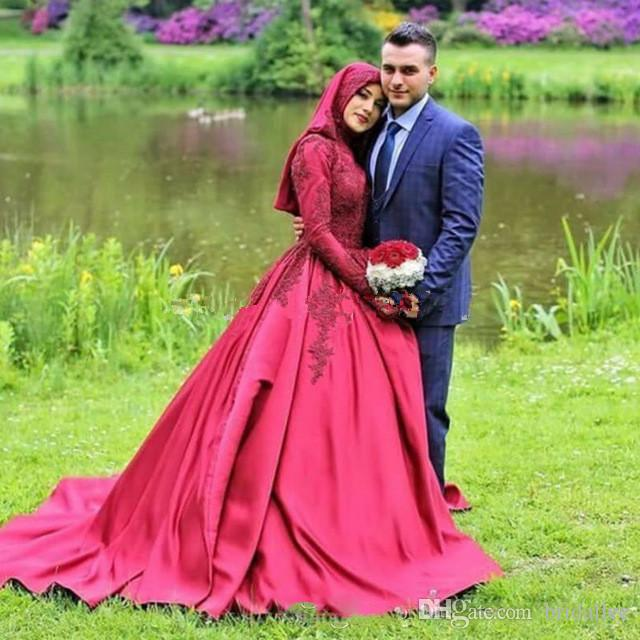 Muçulmano dubai robe de mariage vestidos de casamento 2017 manga comprida apliques de gola alta vestidos de casamento árabe vestido de noiva noiva vestido de noiva