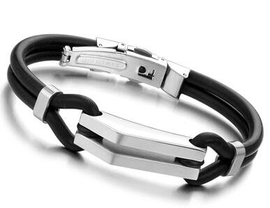 Stainless Steel Silicone Men's 316L Bracelet Men's Jewelry Black Color Good Quality Best Selling Free Shipping