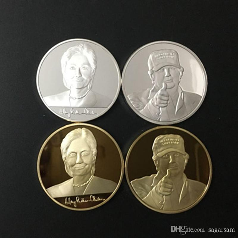 4 pcs Hillary Clinton et Donald Trump, président des États-Unis, candidat à la médaille d'or en argent plaqué or 24 carats, pièce américaine tout neuf