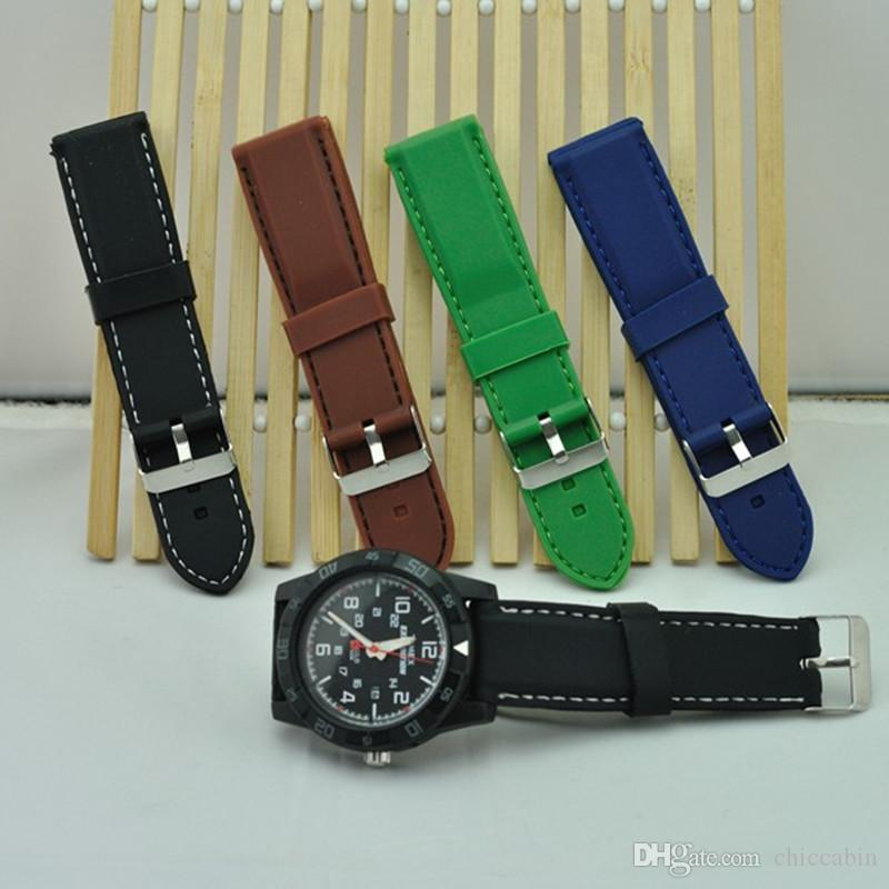 22/24/26mm black/blue/green/brown Waterproof Rubber/Silicone Strap Watch Band + tools + adapter