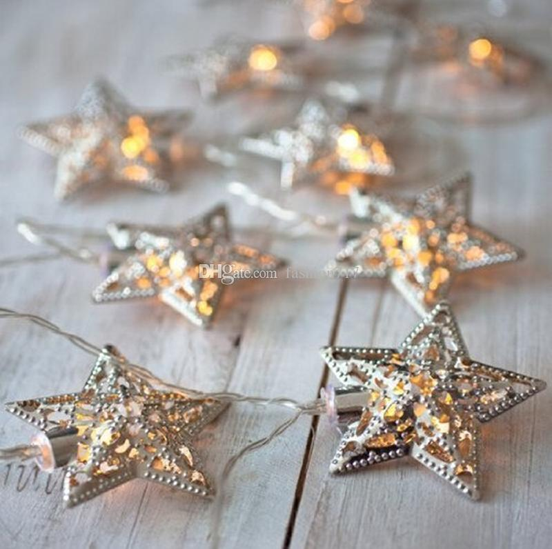 BATTERIA GUARDA WACK LED LED String Lights 10 Metal Star Decoration Light per Festival Halloween Christmas Party Wedding (Argento)
