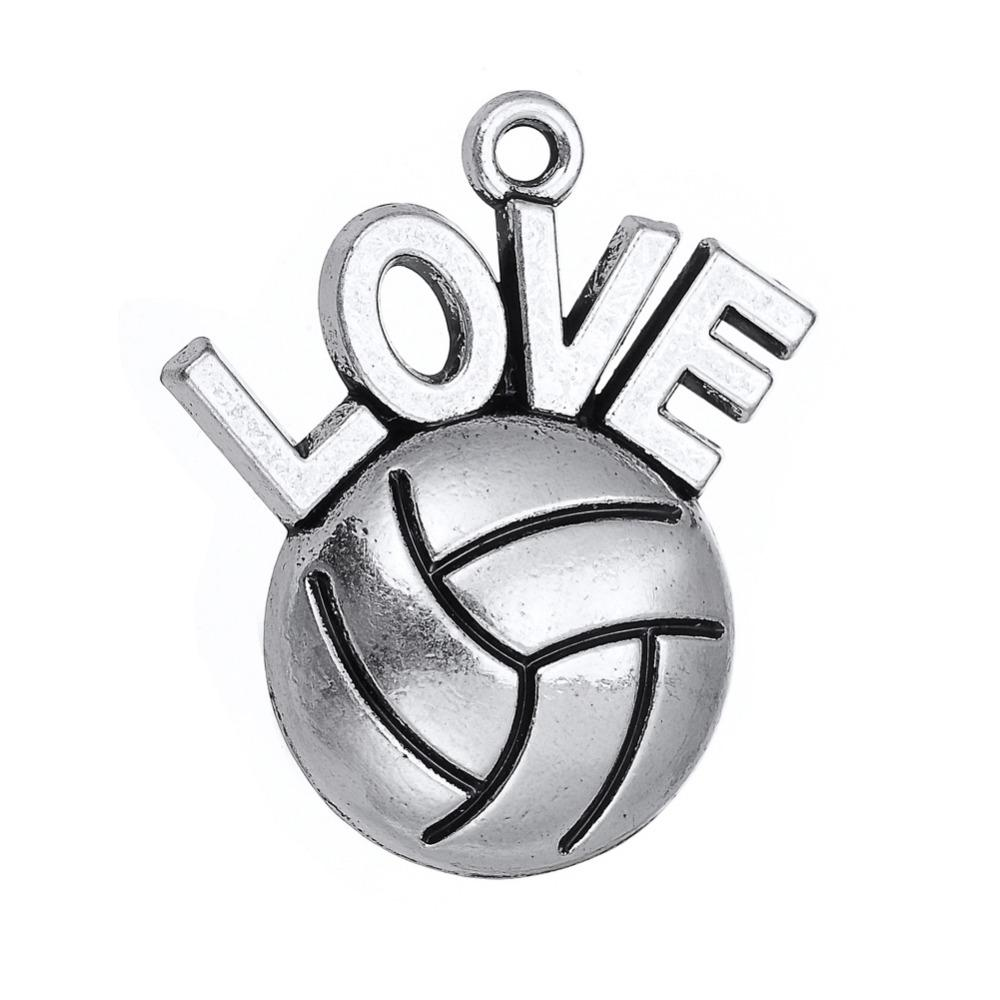 Antique Silver Plated I Love Volleyball Necklace Pendant Sports Fan Charms DIY Wholesale Jewelry 10pcs