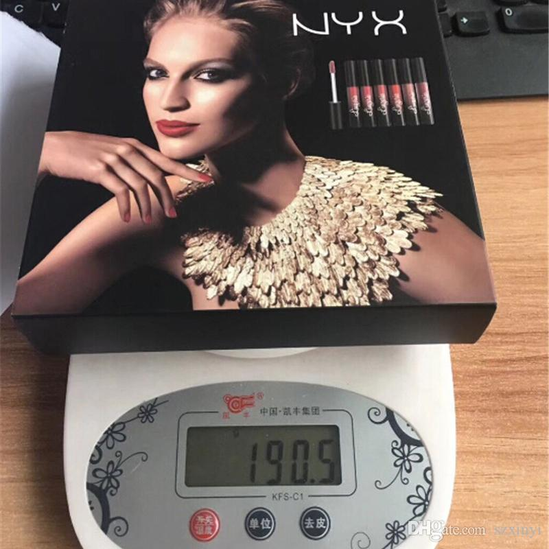 Hottest NYX Lingerie Liquid Matte Lipstick 6pcs/set Luxury Velvet Matte Nude Lip Gloss