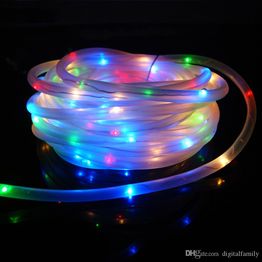 7m 50leds Solar Led String Lights Outdoor Rope Tube Led String Solar Powered Fairy Lights For Garden Fence Landscape Industrial String Lights Heart